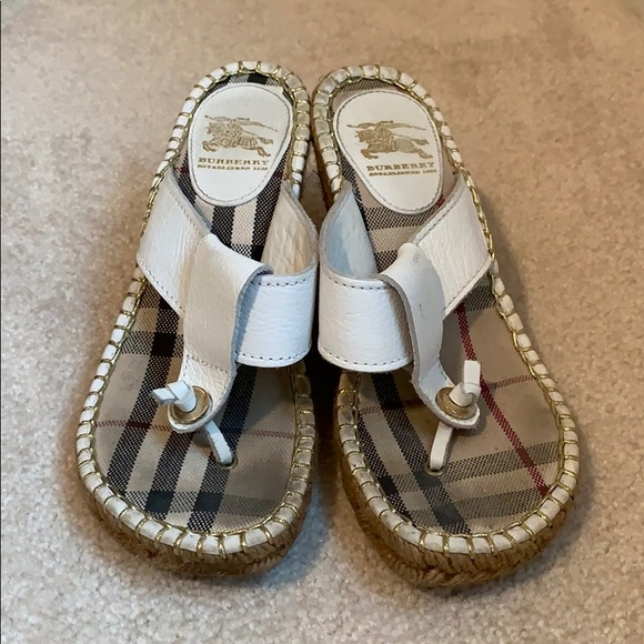 Burberry Shoes - Burberry white leather wedge sandals, size 36